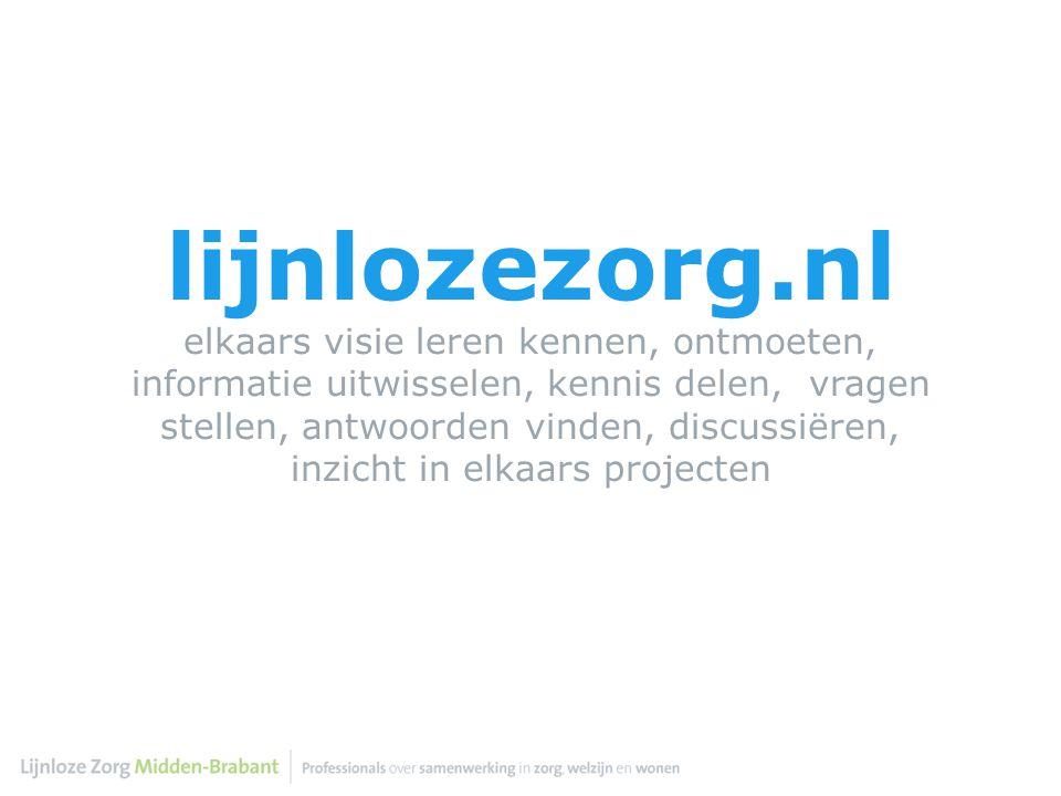 lijnlozezorg.nl elkaars visie leren kennen, ontmoeten, informatie uitwisselen, kennis delen, vragen stellen, antwoorden vinden, discussiëren, inzicht