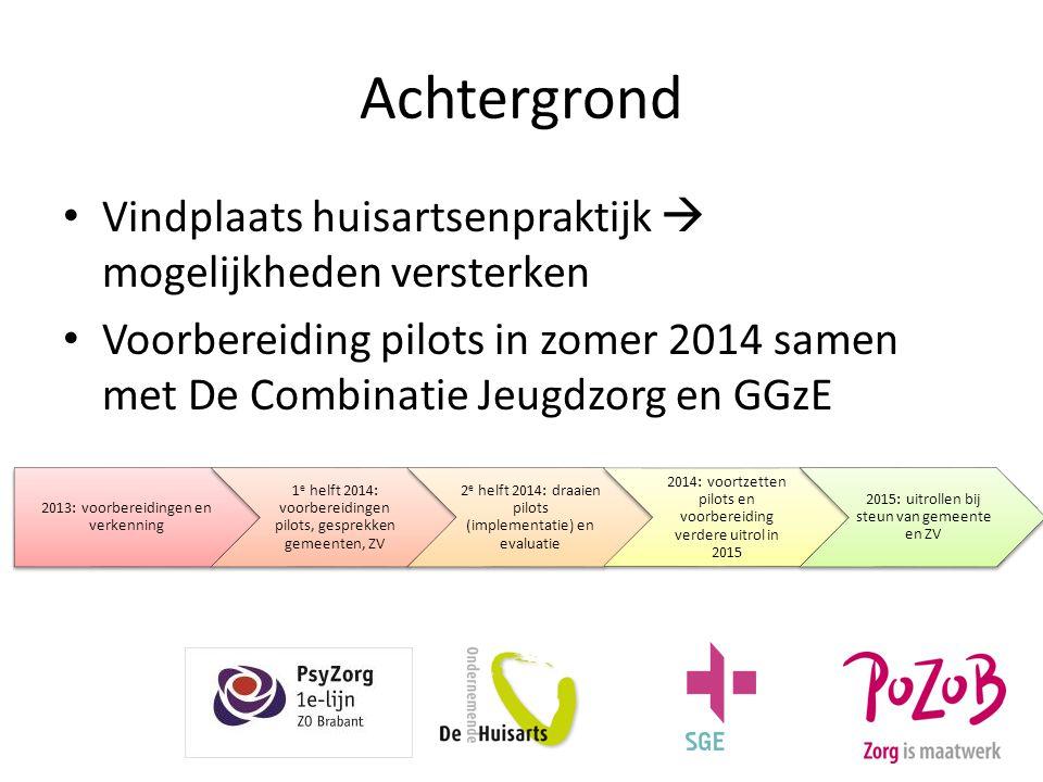 Achtergrond Vindplaats huisartsenpraktijk  mogelijkheden versterken Voorbereiding pilots in zomer 2014 samen met De Combinatie Jeugdzorg en GGzE 2013