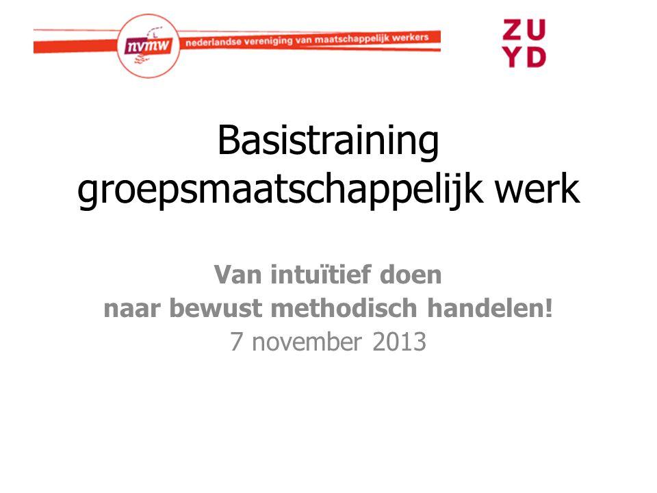 Basistraining groepsmaatschappelijk werk Van intuïtief doen naar bewust methodisch handelen! 7 november 2013