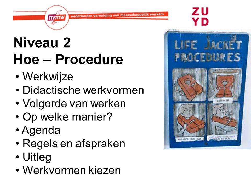 Niveau 2 Hoe – Procedure Werkwijze Didactische werkvormen Volgorde van werken Op welke manier? Agenda Regels en afspraken Uitleg Werkvormen kiezen