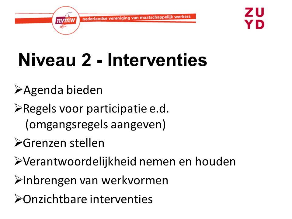 Niveau 2 - Interventies  Agenda bieden  Regels voor participatie e.d. (omgangsregels aangeven)  Grenzen stellen  Verantwoordelijkheid nemen en hou