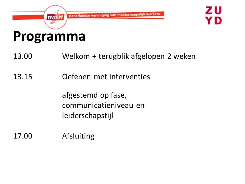 Programma 13.00Welkom + terugblik afgelopen 2 weken 13.15Oefenen met interventies afgestemd op fase, communicatieniveau en leiderschapstijl 17.00Afslu