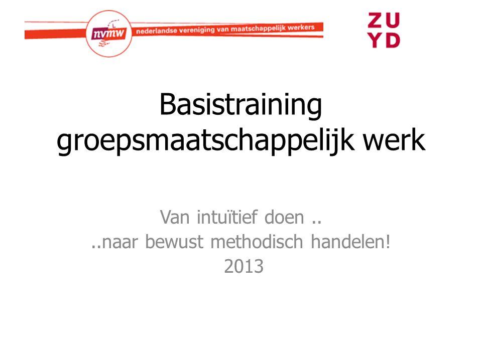 Basistraining groepsmaatschappelijk werk Van intuïtief doen....naar bewust methodisch handelen! 2013