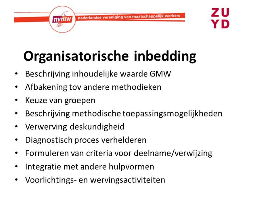 Organisatorische inbedding Beschrijving inhoudelijke waarde GMW Afbakening tov andere methodieken Keuze van groepen Beschrijving methodische toepassin