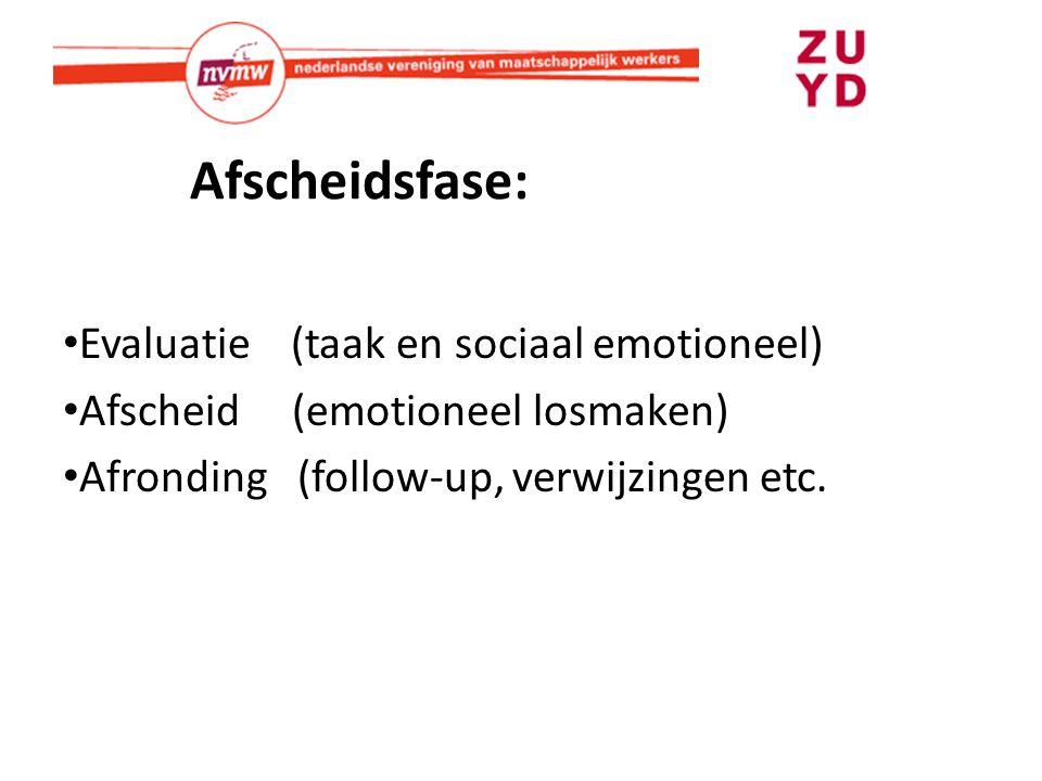 Afscheidsfase: Evaluatie (taak en sociaal emotioneel) Afscheid (emotioneel losmaken) Afronding (follow-up, verwijzingen etc.