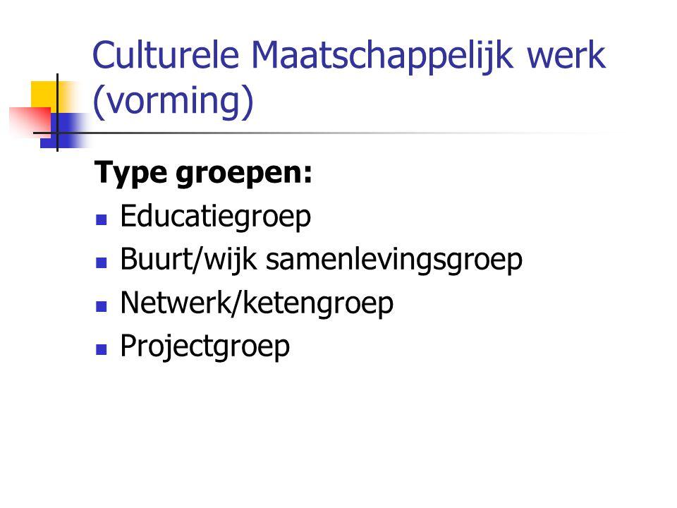 Culturele Maatschappelijk werk (vorming) Type groepen: Educatiegroep Buurt/wijk samenlevingsgroep Netwerk/ketengroep Projectgroep