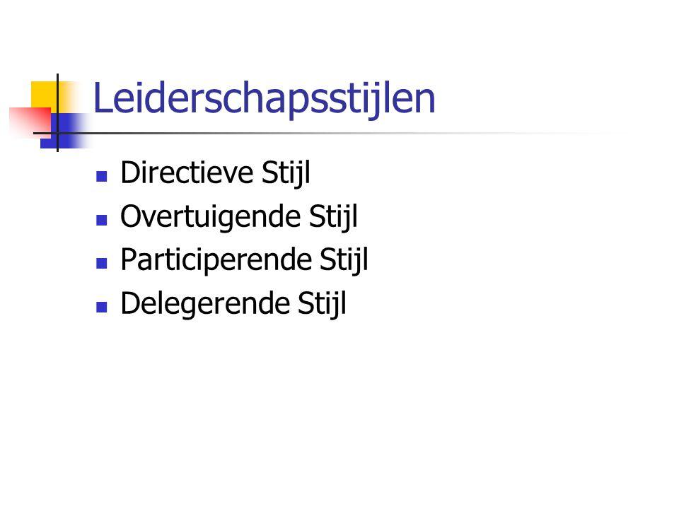 Leiderschapsstijlen Directieve Stijl Overtuigende Stijl Participerende Stijl Delegerende Stijl