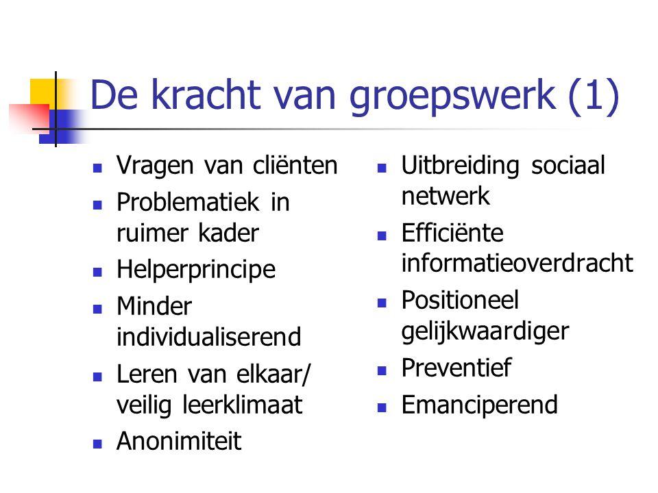 Groepsmaatschappelijk werk Type groepen: Hoofd- groepen: Cognitief Georiënteerde groepen (voorlichtings/thema-avonden) Hart-groepen: Beleving en Ervaringsgeoriënteerde groepen Handen-groepen: Gedrag en vaardigheid georiënteerde groepen