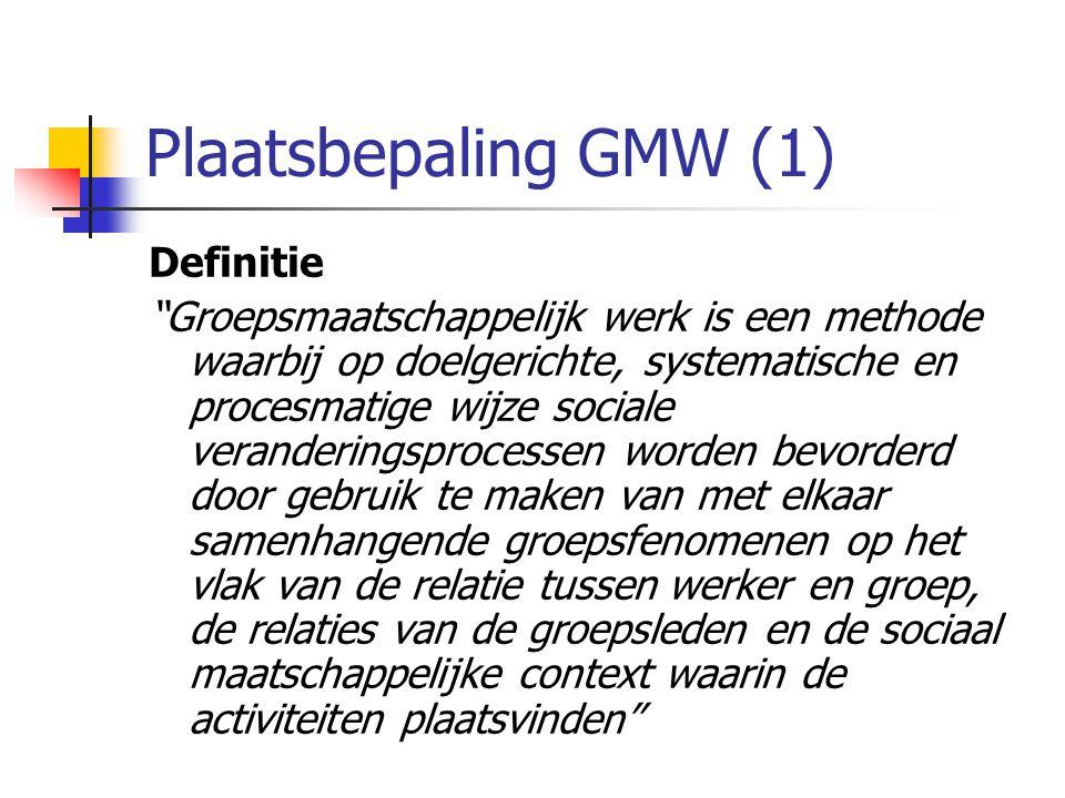 Plaatsbepaling GMW (1) Definitie Groepsmaatschappelijk werk is een methode waarbij op doelgerichte, systematische en procesmatige wijze sociale veranderingsprocessen worden bevorderd door gebruik te maken van met elkaar samenhangende groepsfenomenen op het vlak van de relatie tussen werker en groep, de relaties van de groepsleden en de sociaal maatschappelijke context waarin de activiteiten plaatsvinden