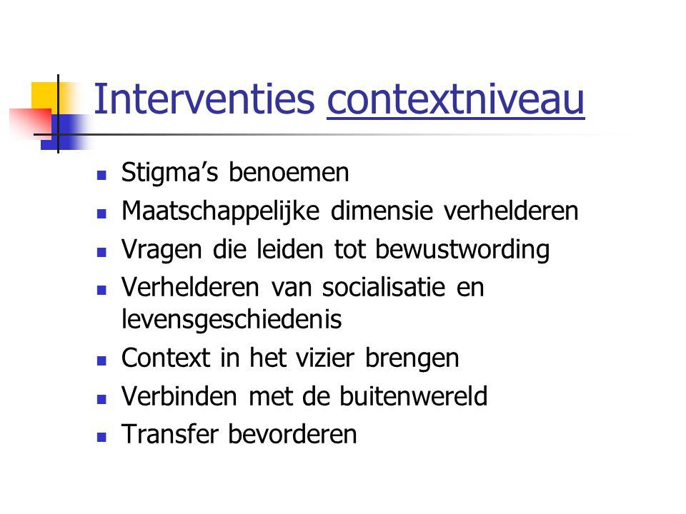 Interventies contextniveau Stigma's benoemen Maatschappelijke dimensie verhelderen Vragen die leiden tot bewustwording Verhelderen van socialisatie en