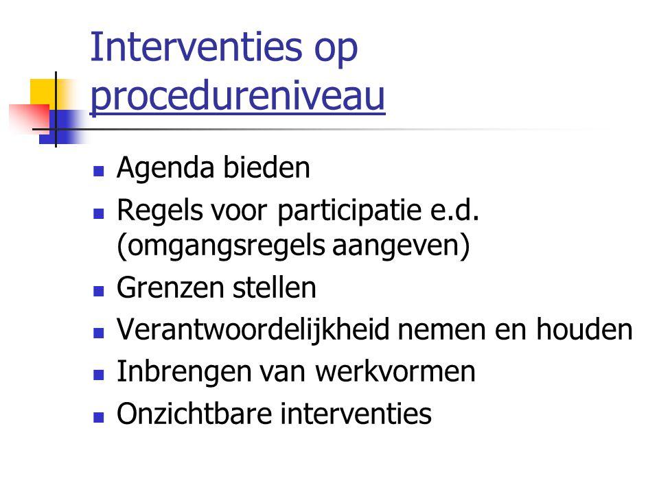 Interventies op procedureniveau Agenda bieden Regels voor participatie e.d. (omgangsregels aangeven) Grenzen stellen Verantwoordelijkheid nemen en hou