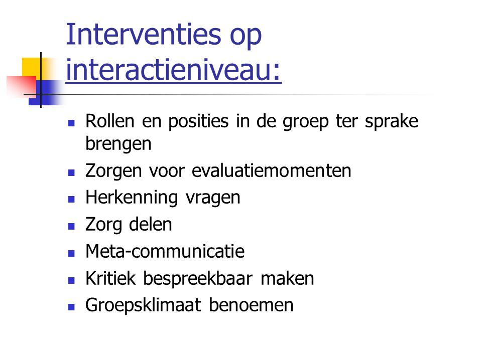 Interventies op interactieniveau: Rollen en posities in de groep ter sprake brengen Zorgen voor evaluatiemomenten Herkenning vragen Zorg delen Meta-communicatie Kritiek bespreekbaar maken Groepsklimaat benoemen