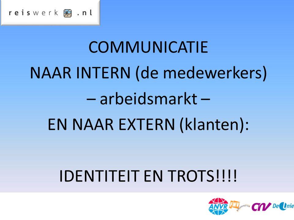 COMMUNICATIE NAAR INTERN (de medewerkers) – arbeidsmarkt – EN NAAR EXTERN (klanten): IDENTITEIT EN TROTS!!!!
