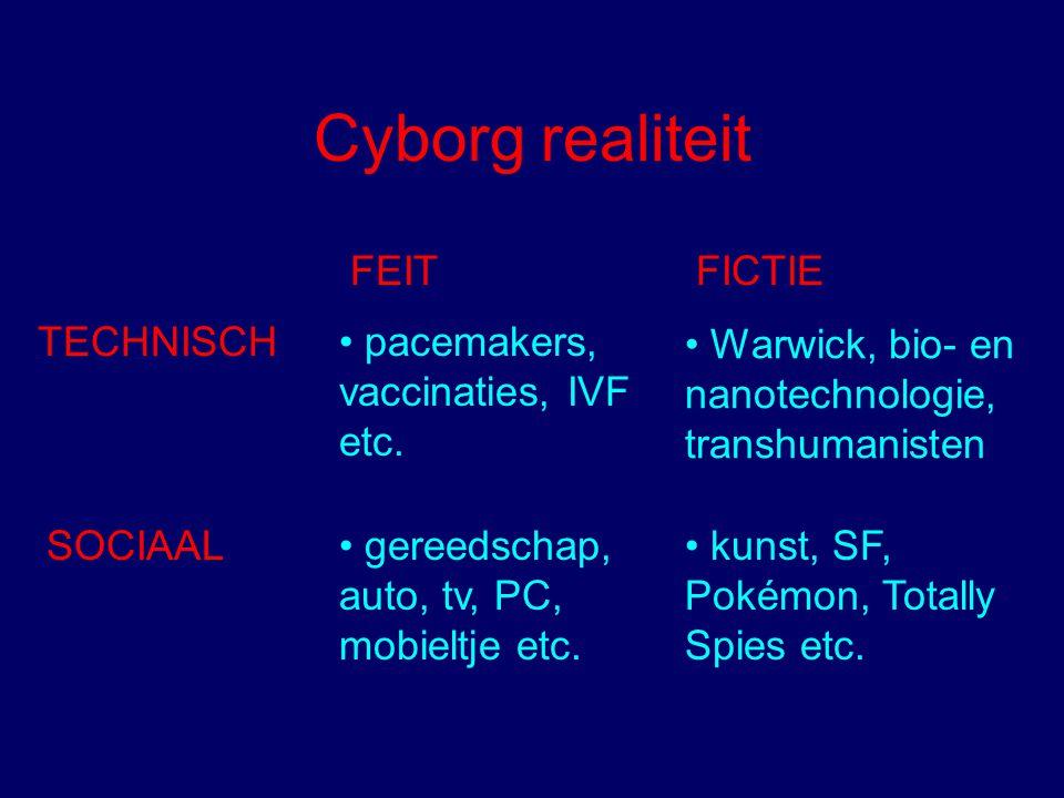 SOCIAAL gereedschap, auto, tv, PC, mobieltje etc. TECHNISCH pacemakers, vaccinaties, IVF etc. FEIT FICTIE Warwick, bio- en nanotechnologie, transhuman