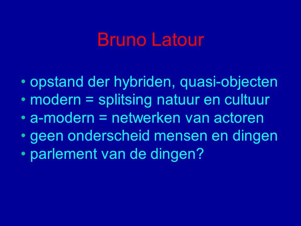 Bruno Latour opstand der hybriden, quasi-objecten modern = splitsing natuur en cultuur a-modern = netwerken van actoren geen onderscheid mensen en din