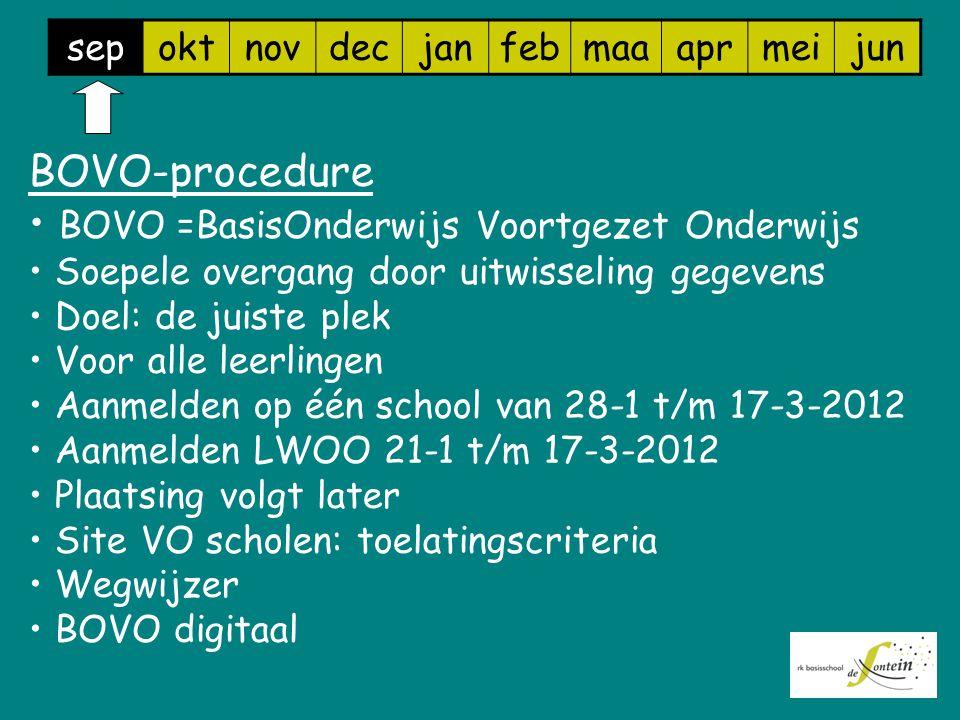 sepoktnovdecjanfebmaaaprmeijun BOVO-procedure BOVO =BasisOnderwijs Voortgezet Onderwijs Soepele overgang door uitwisseling gegevens Doel: de juiste plek Voor alle leerlingen Aanmelden op één school van 28-1 t/m 17-3-2012 Aanmelden LWOO 21-1 t/m 17-3-2012 Plaatsing volgt later Site VO scholen: toelatingscriteria Wegwijzer BOVO digitaal