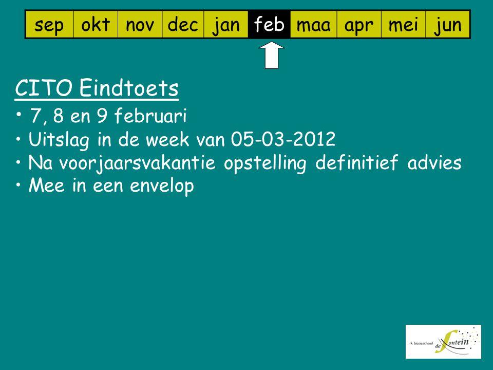 sepoktnovdecjanfebmaaaprmeijun CITO Eindtoets 7, 8 en 9 februari Uitslag in de week van 05-03-2012 Na voorjaarsvakantie opstelling definitief advies Mee in een envelop