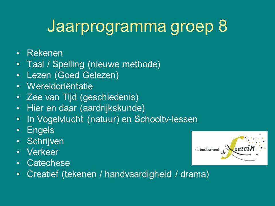 Jaarprogramma groep 8 Rekenen Taal / Spelling (nieuwe methode) Lezen (Goed Gelezen) Wereldoriëntatie Zee van Tijd (geschiedenis) Hier en daar (aardrij