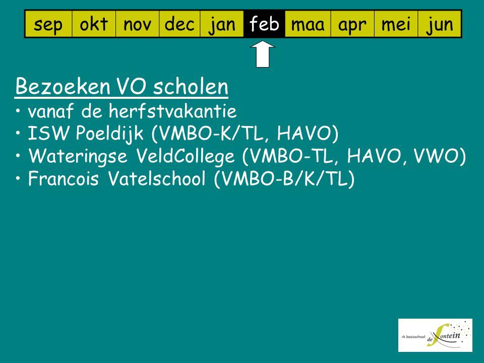 sepoktnovdecjanfebmaaaprmeijun Bezoeken VO scholen vanaf de herfstvakantie ISW Poeldijk (VMBO-K/TL, HAVO) Wateringse VeldCollege (VMBO-TL, HAVO, VWO)