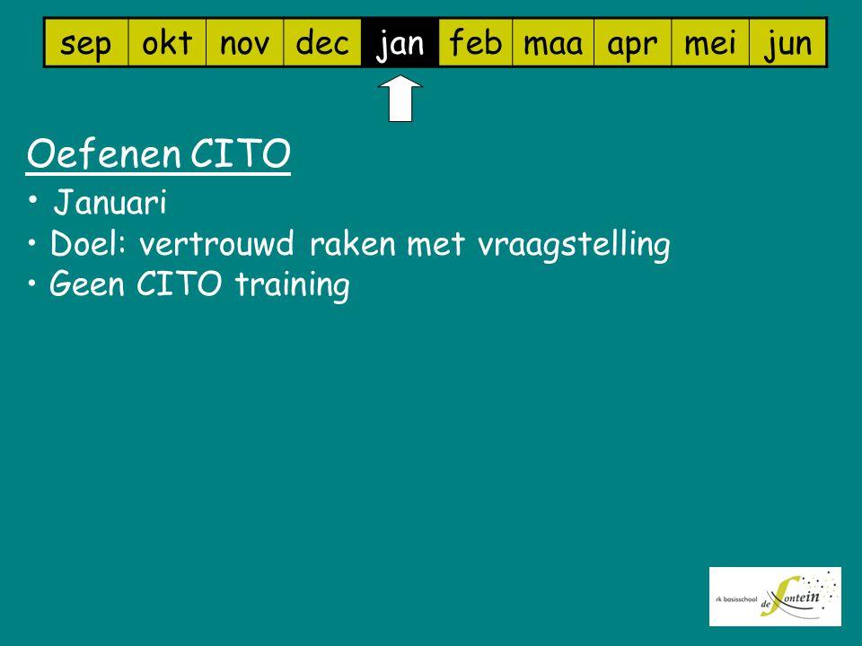 sepoktnovdecjanfebmaaaprmeijun Oefenen CITO Januari Doel: vertrouwd raken met vraagstelling Geen CITO training
