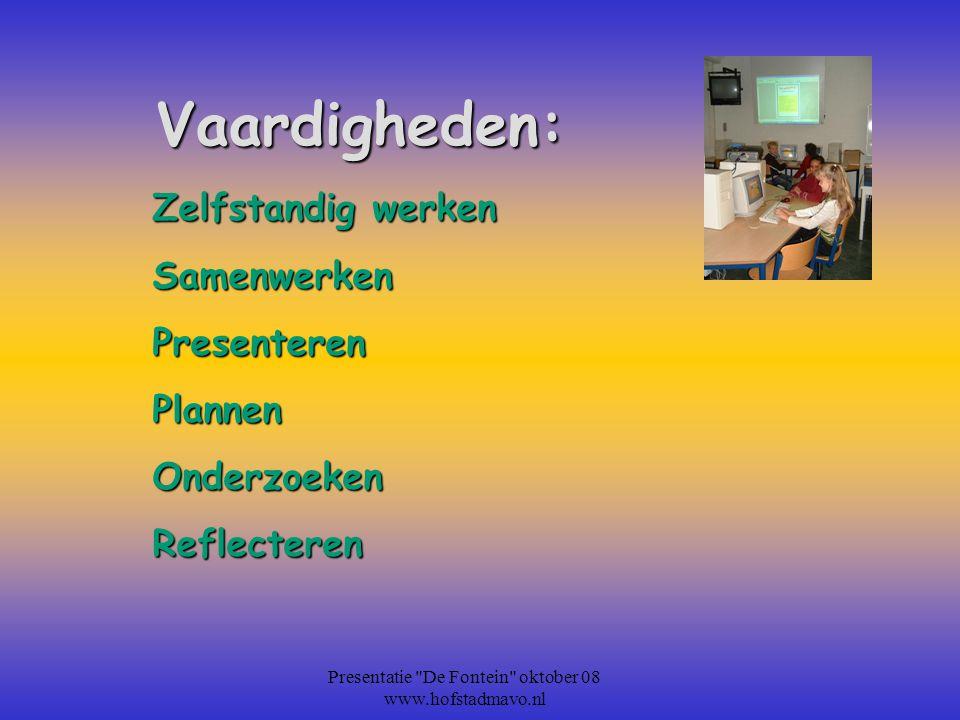 De Cito score Presentatie De Fontein oktober 08 www.hofstadmavo.nl