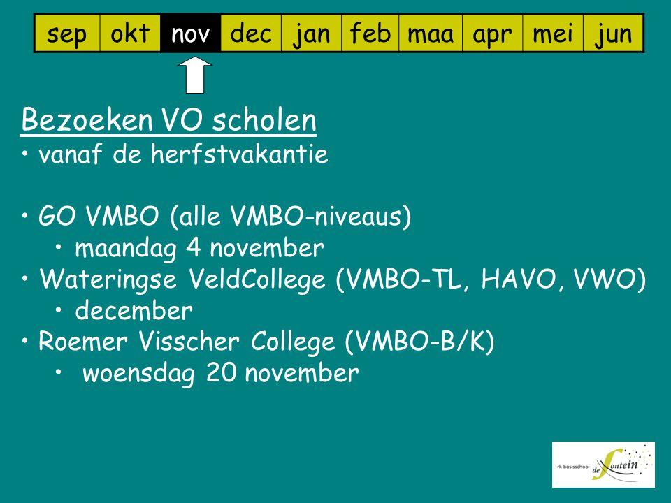 sepoktnovdecjanfebmaaaprmeijun Bezoeken VO scholen vanaf de herfstvakantie GO VMBO (alle VMBO-niveaus) maandag 4 november Wateringse VeldCollege (VMBO