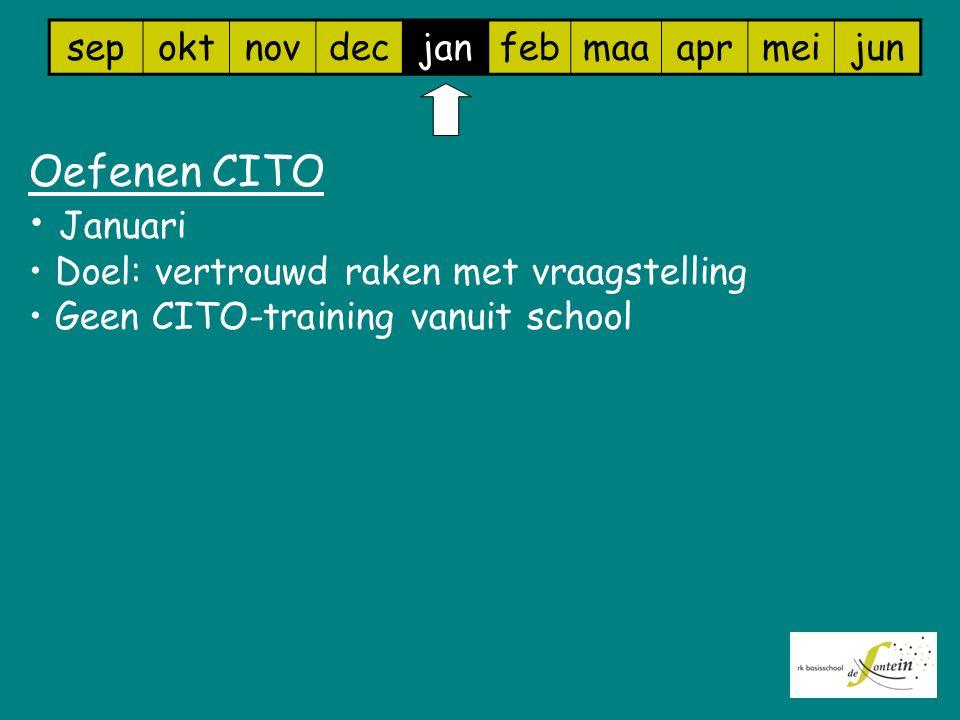 sepoktnovdecjanfebmaaaprmeijun Oefenen CITO Januari Doel: vertrouwd raken met vraagstelling Geen CITO-training vanuit school