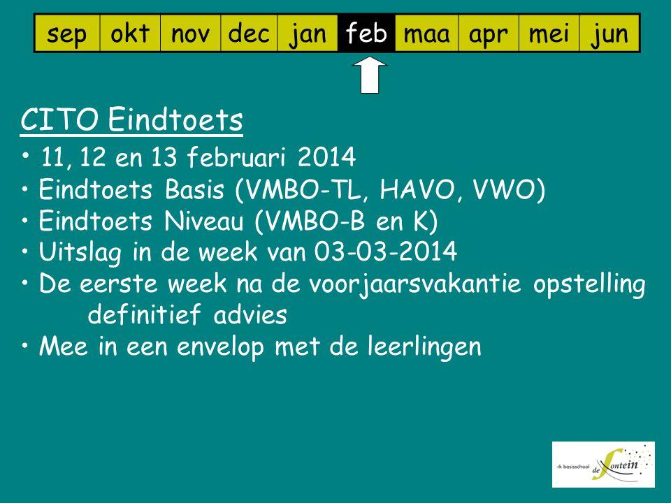 sepoktnovdecjanfebmaaaprmeijun CITO Eindtoets 11, 12 en 13 februari 2014 Eindtoets Basis (VMBO-TL, HAVO, VWO) Eindtoets Niveau (VMBO-B en K) Uitslag i