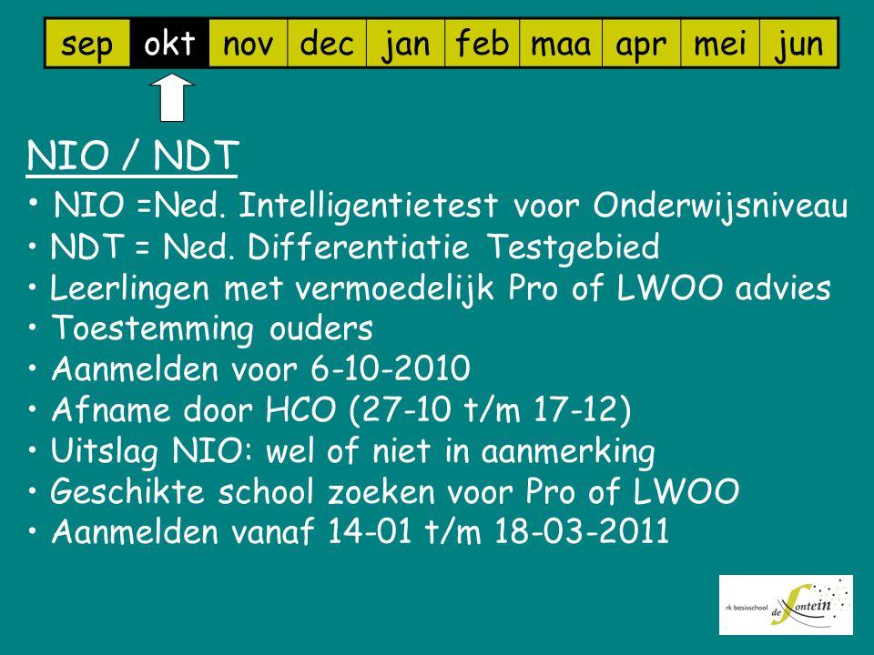 sepoktnovdecjanfebmaaaprmeijun NIO / NDT NIO =Ned. Intelligentietest voor Onderwijsniveau NDT = Ned. Differentiatie Testgebied Leerlingen met vermoede