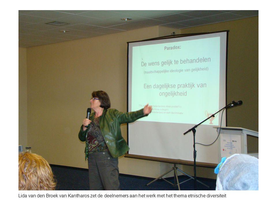 Lida van den Broek van Kantharos zet de deelnemers aan het werk met het thema etnische diversiteit