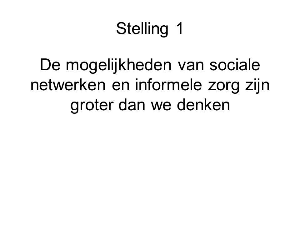 Stelling 1 De mogelijkheden van sociale netwerken en informele zorg zijn groter dan we denken