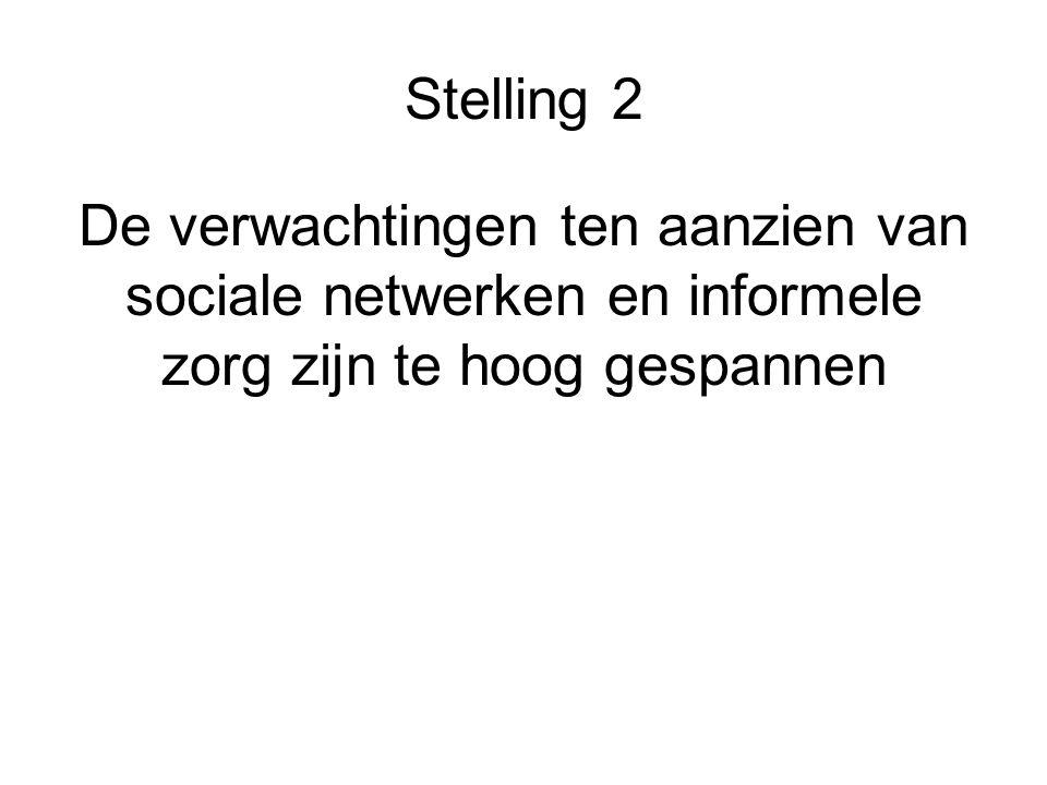 Stelling 2 De verwachtingen ten aanzien van sociale netwerken en informele zorg zijn te hoog gespannen