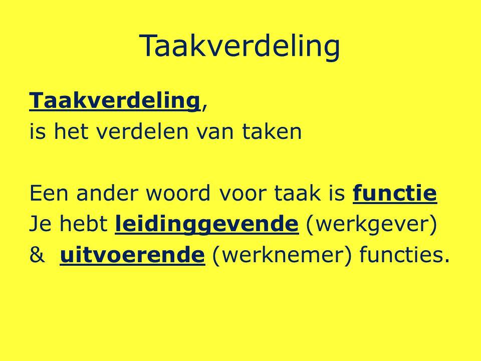 Taakverdeling Taakverdeling, is het verdelen van taken Een ander woord voor taak is functie Je hebt leidinggevende (werkgever) & uitvoerende (werknemer) functies.