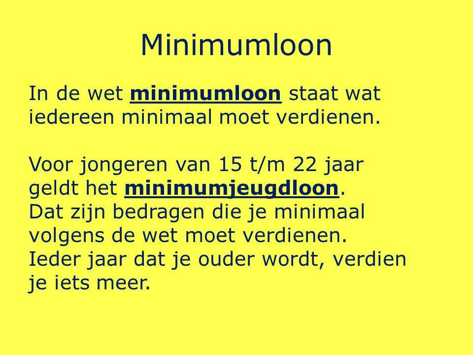 Minimumloon In de wet minimumloon staat wat iedereen minimaal moet verdienen.