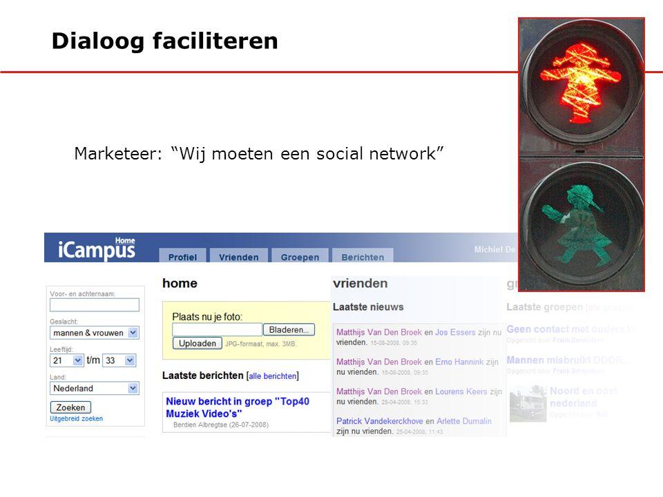 Dialoog faciliteren Marketeer: Wij moeten een social network