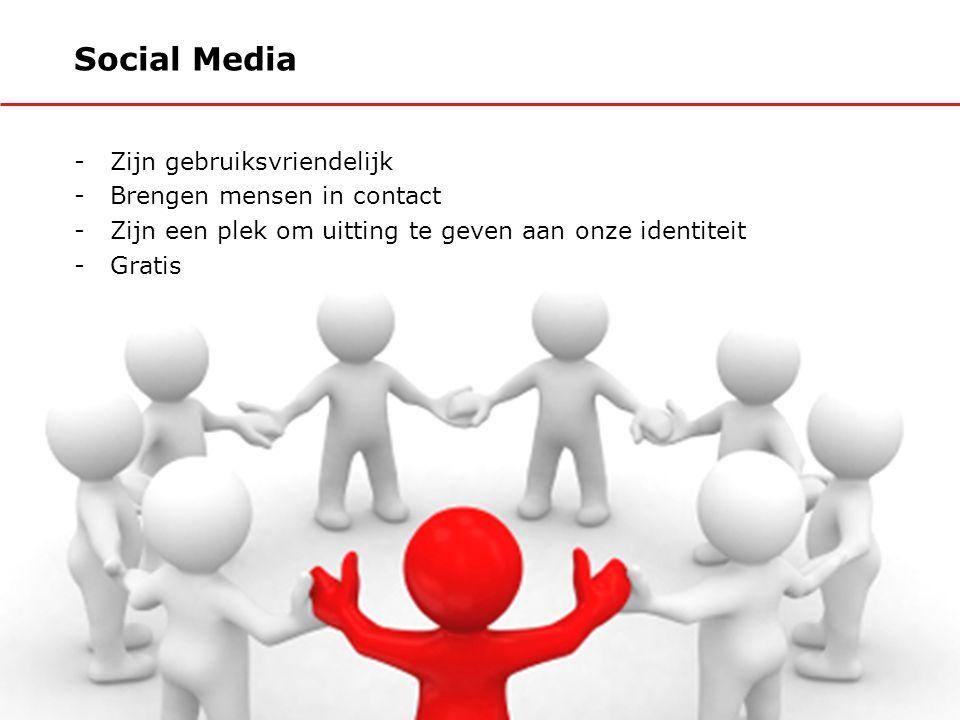 Social Media -Zijn gebruiksvriendelijk -Brengen mensen in contact -Zijn een plek om uitting te geven aan onze identiteit -Gratis