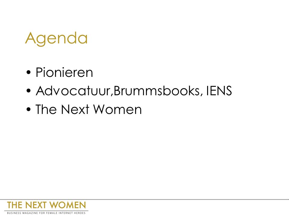 Agenda Pionieren Advocatuur,Brummsbooks, IENS The Next Women