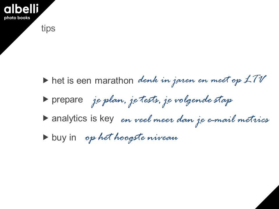 tips  het is een marathon  prepare  analytics is key  buy in denk in jaren en meet op LTV je plan, je tests, je volgende stap en veel meer dan je