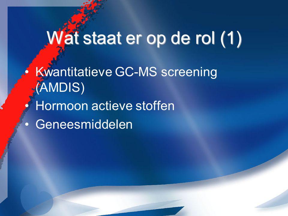 Wat staat er op de rol (1) Kwantitatieve GC-MS screening (AMDIS) Hormoon actieve stoffen Geneesmiddelen