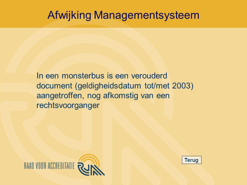 Afwijking Managementsysteem Terug In een monsterbus is een verouderd document (geldigheidsdatum tot/met 2003) aangetroffen, nog afkomstig van een rechtsvoorganger