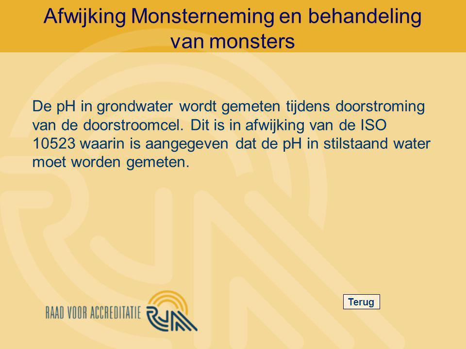 Afwijking Monsterneming en behandeling van monsters Terug De pH in grondwater wordt gemeten tijdens doorstroming van de doorstroomcel.