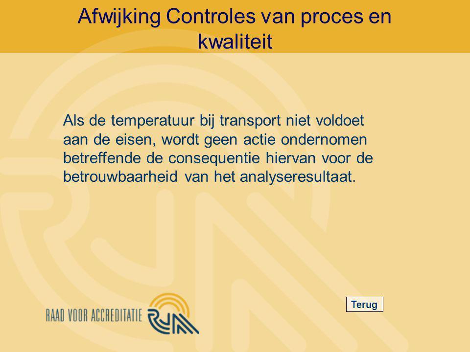 Afwijking Controles van proces en kwaliteit Terug Als de temperatuur bij transport niet voldoet aan de eisen, wordt geen actie ondernomen betreffende de consequentie hiervan voor de betrouwbaarheid van het analyseresultaat.