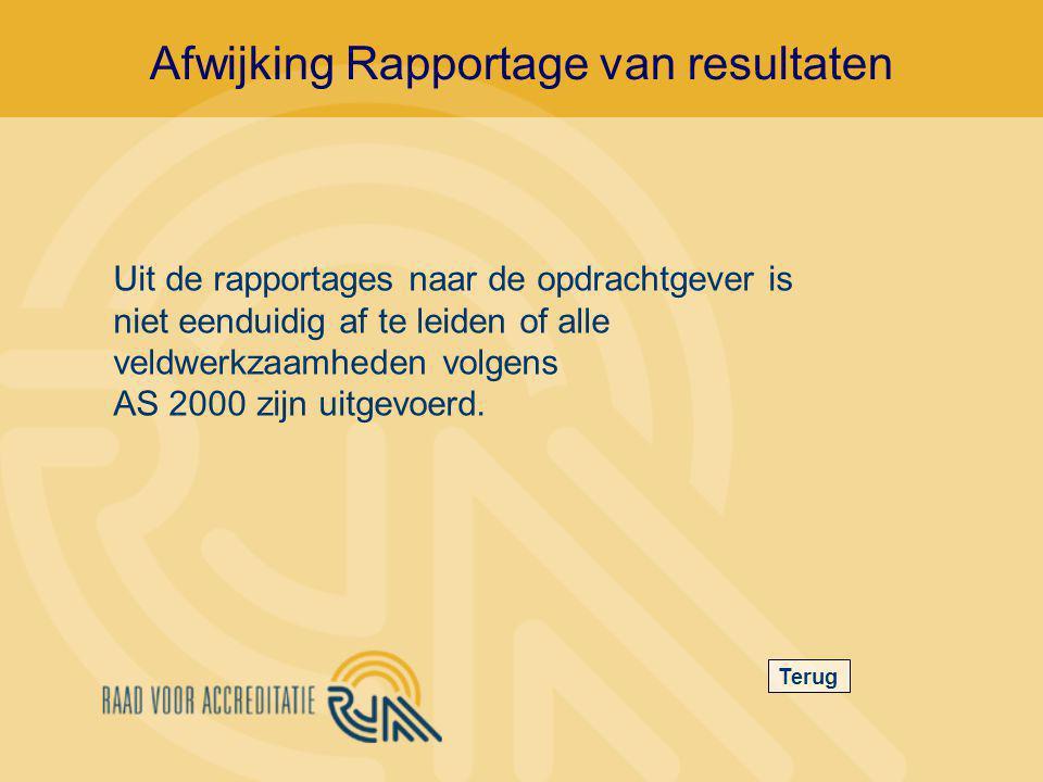 Afwijking Rapportage van resultaten Terug Uit de rapportages naar de opdrachtgever is niet eenduidig af te leiden of alle veldwerkzaamheden volgens AS 2000 zijn uitgevoerd.