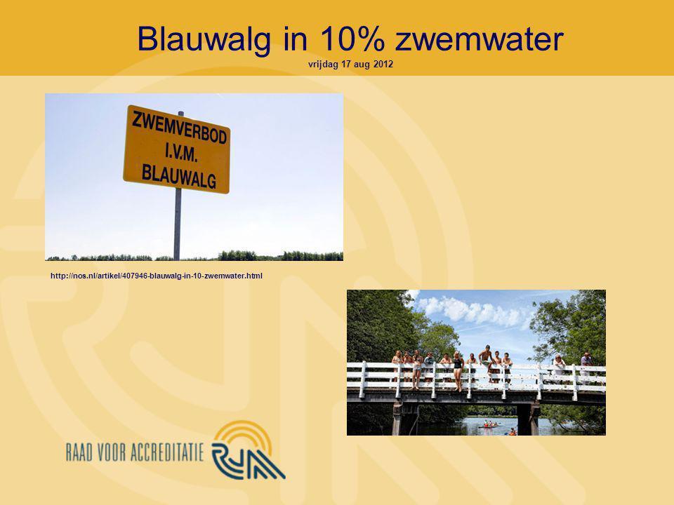 Blauwalg in 10% zwemwater vrijdag 17 aug 2012 http://nos.nl/artikel/407946-blauwalg-in-10-zwemwater.html