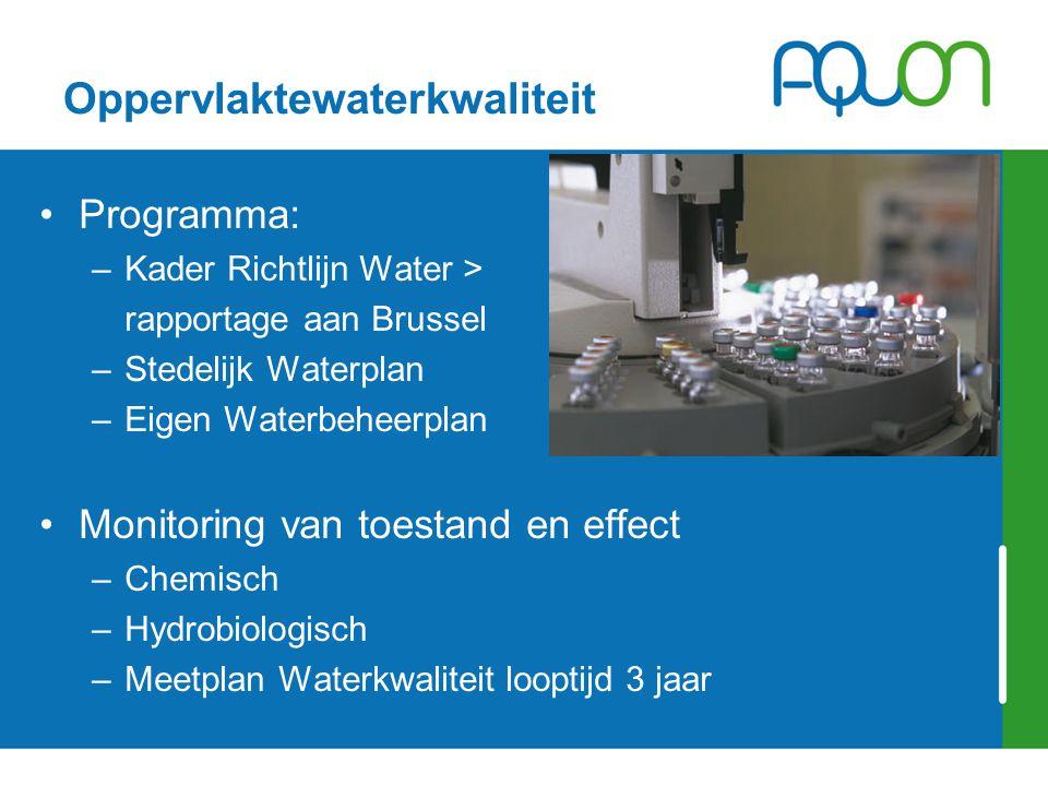 Oppervlaktewaterkwaliteit Programma: –Kader Richtlijn Water > rapportage aan Brussel –Stedelijk Waterplan –Eigen Waterbeheerplan Monitoring van toestand en effect –Chemisch –Hydrobiologisch –Meetplan Waterkwaliteit looptijd 3 jaar