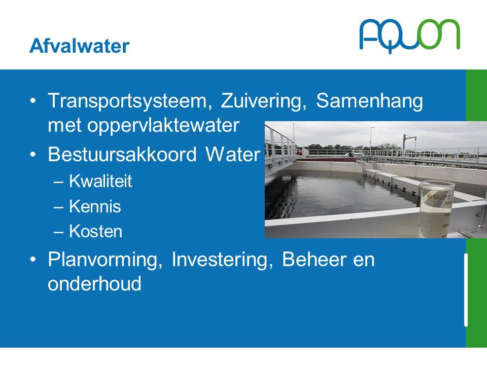 Afvalwater Transportsysteem, Zuivering, Samenhang met oppervlaktewater Bestuursakkoord Water –Kwaliteit –Kennis –Kosten Planvorming, Investering, Behe