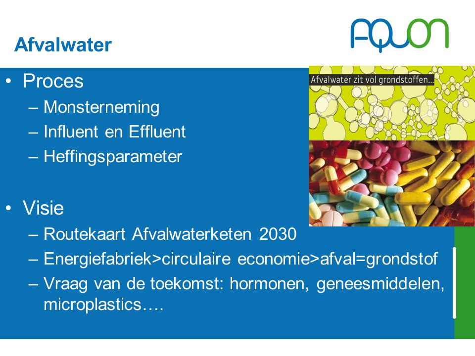 Afvalwater Proces –Monsterneming –Influent en Effluent –Heffingsparameter Visie –Routekaart Afvalwaterketen 2030 –Energiefabriek>circulaire economie>afval=grondstof –Vraag van de toekomst: hormonen, geneesmiddelen, microplastics….