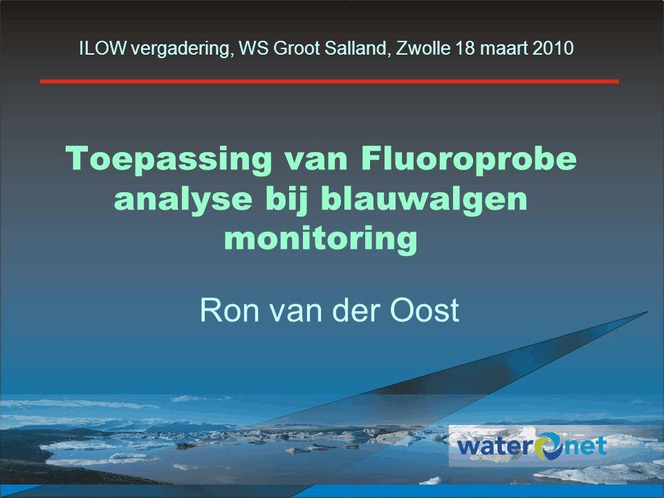 2 Robuustheid van Fluoroprobe analyse Relaties tussen Fluoroprobe en andere parameters: Celdichtheid Biovolume Microcystine Vergelijking van blauwalgen normen Conclusies & aanbevelingen Nieuw blauwalgen protocol 2010 Overzicht