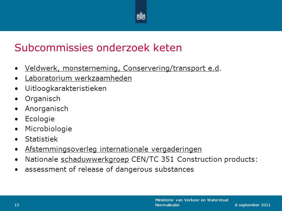 Ministerie van Verkeer en Waterstaat Normalisatie138 september 2011 Subcommissies onderzoek keten Veldwerk, monsterneming, Conservering/transport e.d.