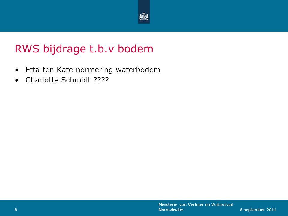 Ministerie van Verkeer en Waterstaat Normalisatie88 september 2011 RWS bijdrage t.b.v bodem Etta ten Kate normering waterbodem Charlotte Schmidt